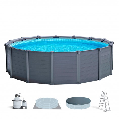 piscina desmontable intex graphite grey panel - 478x124 cm – 16805 litros