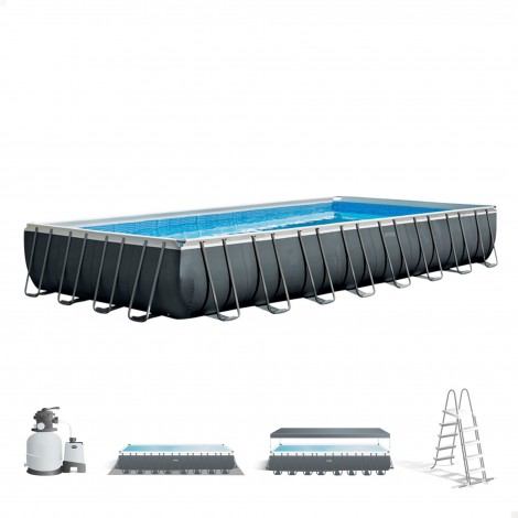 piscina desmontable rectangular con depuradora