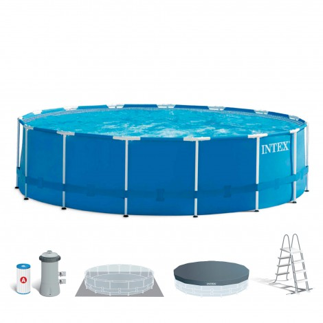 piscina desmontable intex metal frame + depuradora cartucho