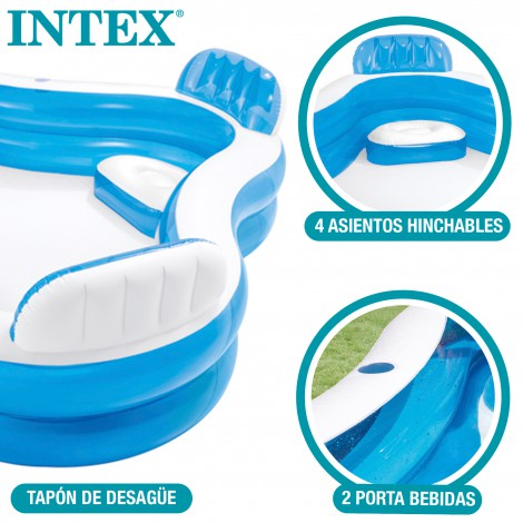 Piscina con asientos hinchables intex medidas 229x66 cm for Piscina intex cuadrada