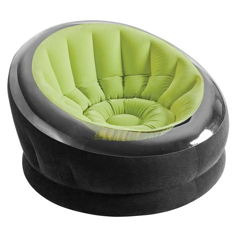 sillón hinchable intex empire 112x109x69 cm - verde & negro